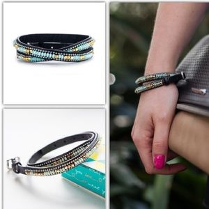 Stella and Dot leather double wrap bracelet